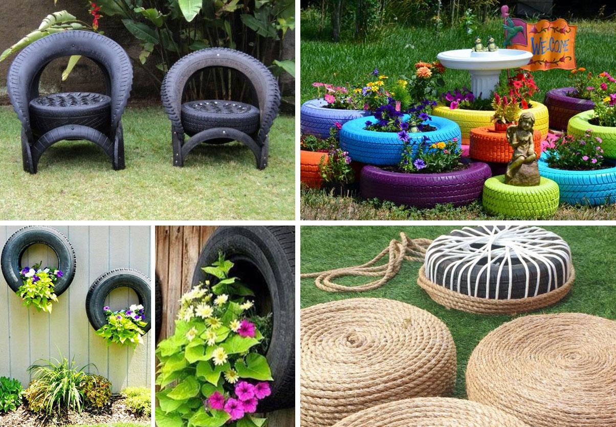 recycled tyres ideas - garden