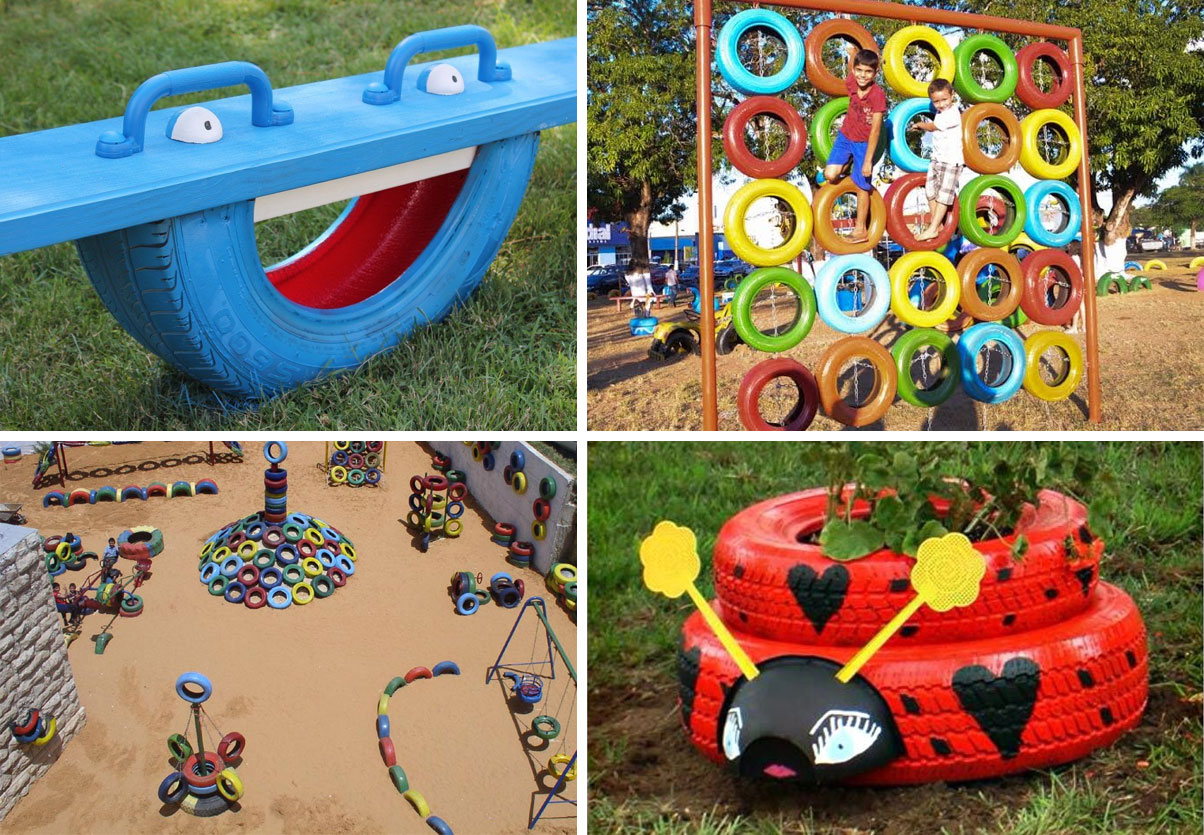 recycled tyres ideas - playground